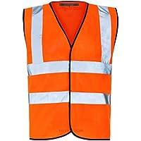 MyShoeStore® Hi Vis Vest Yellow & Orange Small to 6XL 2 Band & Brace (4XL, Orange)