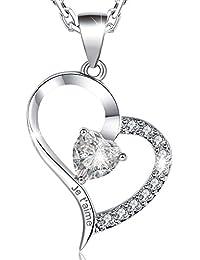 MARENJA Cristal-Collier Coeur Gravé «Je t'aime» avec Rose Stabilisé dans Boîte-Collier Plaqué Or Blanc et Incrusté Cristal-40+5cm