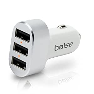 Bolse® High Output 3-Port USB Car Charger (27W / 5.4A), Provides Maximum Speed For 3 Devices At Once With SmartIC Technology for iPhone 5, 5S, 4S; Samsung Galaxy S5, S4, S3, Galaxy Note 3, 2; iPad Air, 5, 4, mini; LG G2; Motorola and HTC