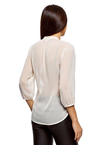 oodji Collection Damen Chiffon-Bluse mit Volants Weiß (1200N)