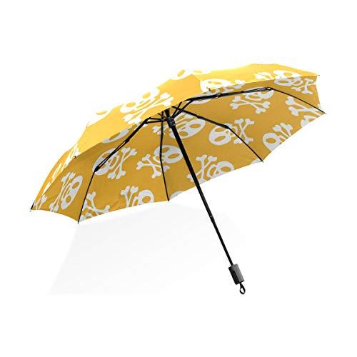 Isaoa Automatique Voyage Parapluie Pliable Compact Parapluie Tête de Mort Blanc Couleur Coupe-Vent Ultra léger Protection UV Parapluie pour Homme ou Femme