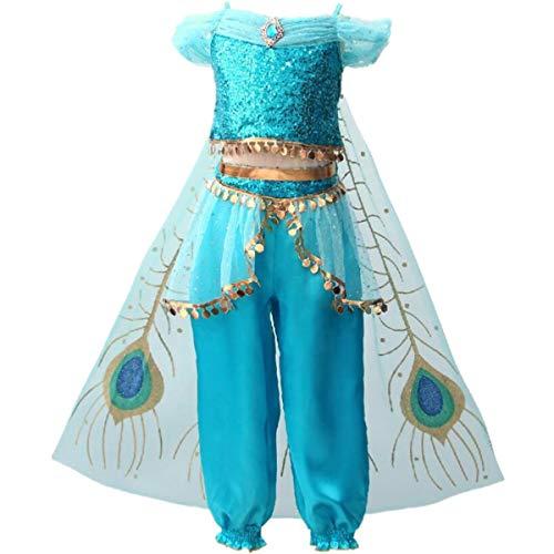 Kostüm Mädchen Kleine Für Bauchtänzerin - IWFREE Mädchen Kostüme Prinzessin Jasmine Aladdin Kostüm Verkleidung Faschingskostüm Bauchtanz Kleid Karneval Cosplay Party Halloween Festkleid Kleider Geburtstag Party Ankleiden