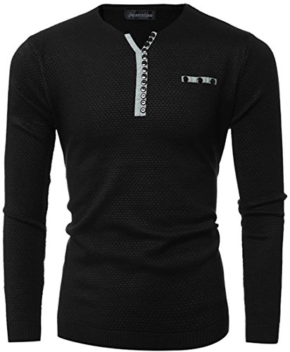 Jeansian L'automne et l'hiver Hommes Casual Pulls et gilets Men's Fashion Button Long Sleeves Pullover Knitwear Jumper Sweater T-shirts 88J7 Black