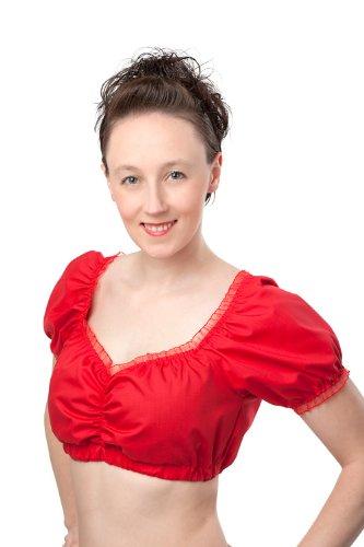 Dirndlbluse weiß oder rot ,Carmenbluse Trachtenbluse, Dirndl Bluse, Trachtenmode für Damen (40, rot)