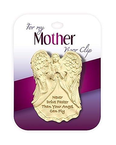 """""""Mother Visor Clip"""" Schutzengel-Amulett für die Sonnenblende mit Clip, für die Mutter, mit englischer Schutzbotschaft """"Fahre nie schneller als dein Engel fliegen kann"""" von AngelStar"""