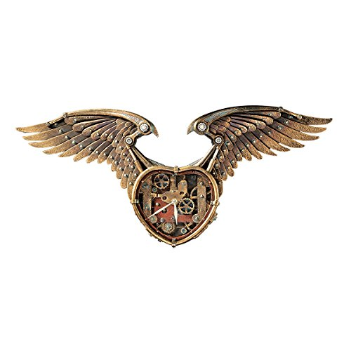 Design Toscano Steampunk-Wanduhr mit geflügeltem Herz