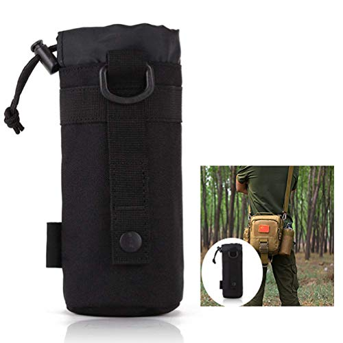 LHKJ Trinkflasche Beutel Molle,Nylon Wasserdicht Flaschenhalter Tasche für Wandern Radfahren Camping(Schwarz)