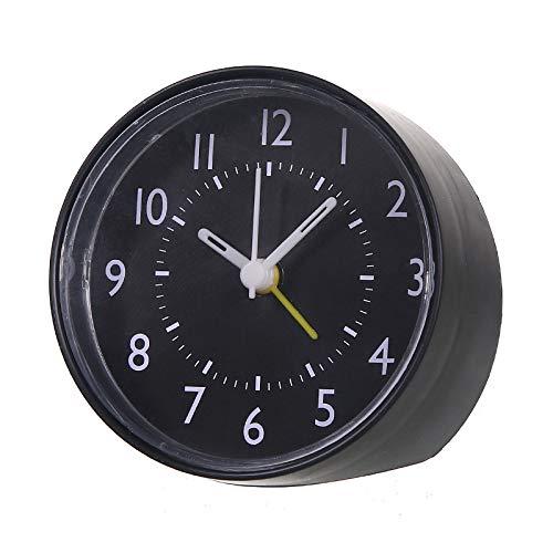 STRUGGGE Plastikrunder Wecker - Schreibtisch-Regal-Uhren für Hauptdekoration, Batterie betrieben (Batterie Nicht eingeschlossen), 4 Farben wahlweise freigestellt Size 8x7.7x4.5cm (Black)