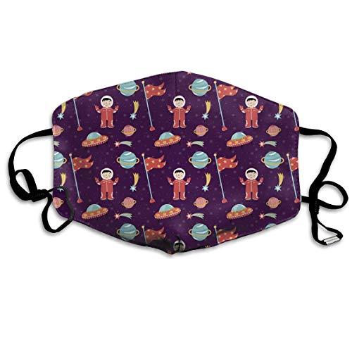 Staubmaske Lila Retro Astronaut Flagge Mundmaske Gesicht Kleidung Anti Verschmutzung Outdoor Maske Aktivitäten Warme Winddicht Gesichtsmasken Design18 -