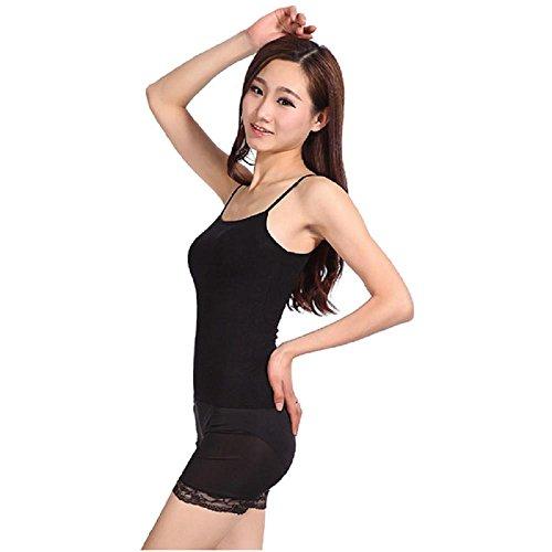 Gilet femme Ularmo Summer femmes sexy mince lâche mousseline de soie Spaghetti Strap Vest Blouses Chemises Noir