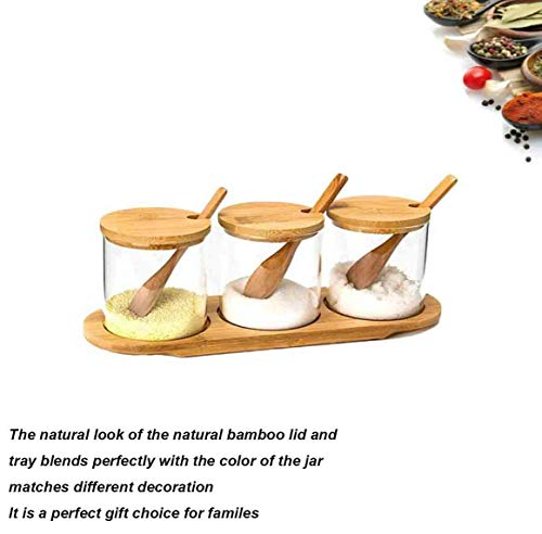 CSPFAIRY 4 Stück/Set Siegel Gewürzgläser Bambusabdeckung Spice Box Kitchen Seasoning Jar Multifunktional Vorratsgläser 20 Jar Spice Rack
