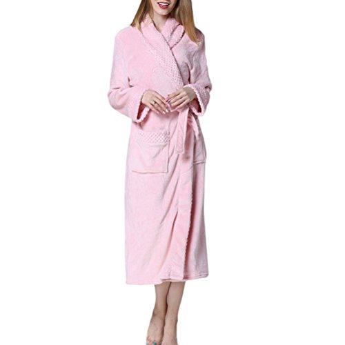 Zhuhaitf Adults Luxury Morgenmäntel ,Herren and Damen Soft & Cosy Flanell Fleece Kimono Bademäntel Loungewear Shawl Collar Robe Housecoat für Gym Shower Spa Hotel Robe Full Size (Fleece Robe Belted)