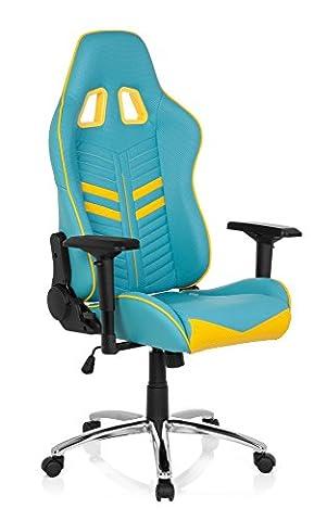 Gaming PC Bürostuhl LEAGUE PRO Chefsessel mit Armlehnen, Drehstuhl zum Gamen und extremen Zocken, ergonomischer Racer, Schreibtischstuhl, Kunstleder blau gelb hjh OFFICE