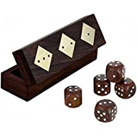 Wooden Dice Box With 5 Dice Set Handcrafted