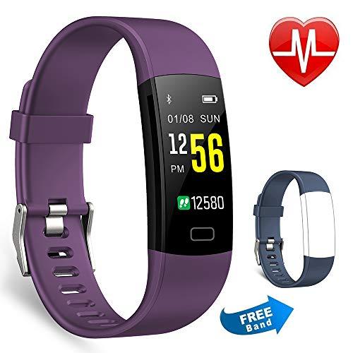 juboury Fitness-Tracker, Aktivitätsuhr, Herzfrequenzmesser, wasserdicht, Schrittzähler, Farbdisplay, Y5 Purple, Lila + blaues Band