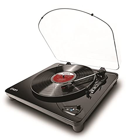 ION Audio Air LP Platine Vinyle Bluetooth à Entraînement par Courroie et Convertisseur USB - Finition Noir Brillant