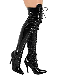 94fc7e841d4c (BS11720-B) - New Womens Ladies Sexy Thigh HIGH Kinky Fetish Over The Knee  Front Hook LACE UP Stiletto Heel Full Side Zip Boots Big Sizes…