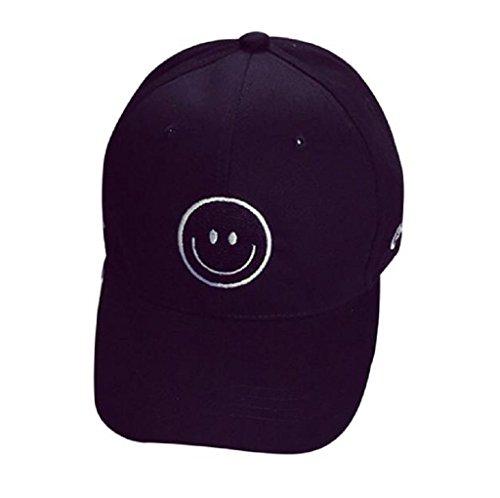Loveso-Kappen Adult Fashion Stickerei Brief Cotton Baseballmütze Hysteresen-Kappen Hip Hop Hüte Sun Caps (Schwarz(Lächeln))