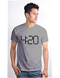 Enquotism White Combed Cotton Fabric Round Neck Men Tshirt 420 Grey