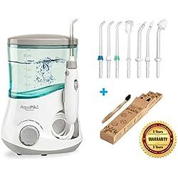 Aquapik 100 - Irrigador dental profesional con garantia de 5 años,incluye 7 boquillas multifuncionales optima higiene bucal,implantes,ortodoncia,encias. Cepillo Biowhite de Regalo