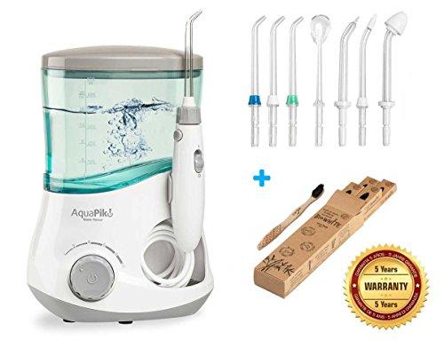Aquapik 100 - Irrigador dental y Nasal único en el mundo (incluye 7 Boquillas) + Un Cepillo dental blanqueador BioWhite