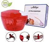 Picadora manual Atthys - 3 hojas de acero inoxidable y mini batidora de huevo, 400 ml de capacidad...