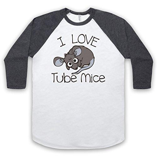 I Love Tube Mice Hipster Slogan 3/4 Hulse Retro Baseball T-Shirt Weis & Dunkelgrau