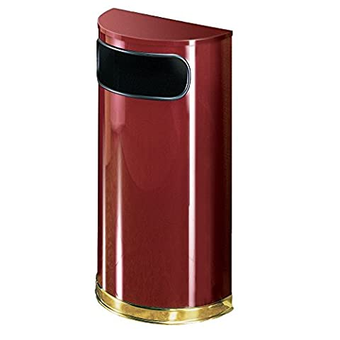 Rubbermaid Commercial Products FGSO810PLCR Half-Round Steel Trash Can, 9 gal, Crimson