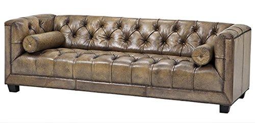 Casa Padrino Luxus Echt Leder Sofa Kubus Vintage Leder Olive - 3 Sitzer - Luxus Hotel Möbel