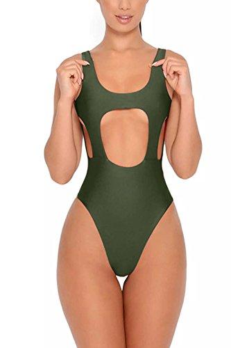 YACUN Le Donne Monokini Bikini Un Pezzo Hollow Costumi Costumi Da Bagno Armygreen