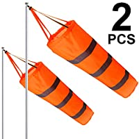 Boao 2 Pieces Windsock Colorful Hanging Decoration Windsock Waterproof Material for Outdoor Hanging(30 Inch, Orange Column)