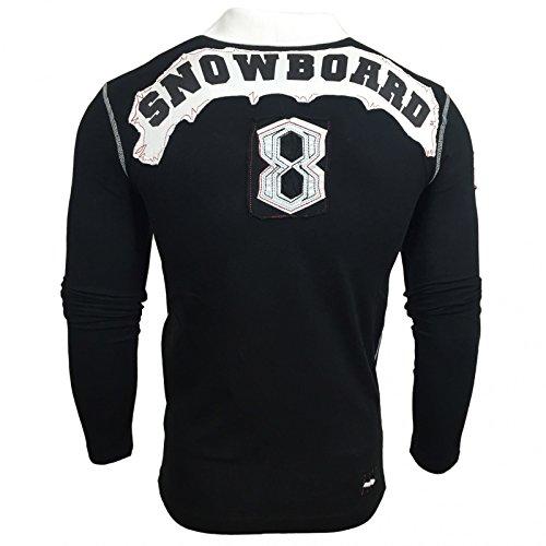 Avroni Polo Langarm Sweatshirt Longsleeve Figurbetont Shirt Hemd T-Shirt A-1317 Schwarz