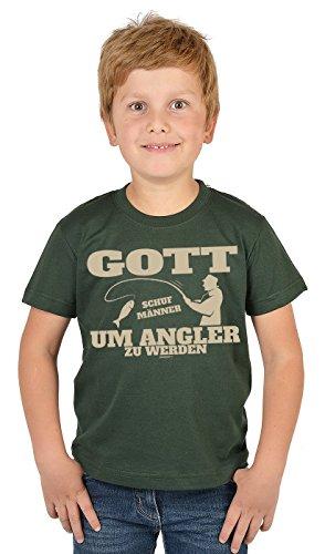 Angler Kinder-Shirt - lustige Sprüche/Motive Angeln für Kinder : Gott Schuf Männer um Angler zu Werden - Bekleidung Kinder Angeln/Angel-Sport Gr: XL= 158-164