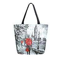 Mnsruu Oil Painting Street London Grocery Reusable Tote Bag Women Large Casual Handbag Shoulder Bags for Shopping Groceries Travel Outdoors