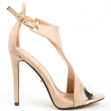 Ideal Shoes - Sandales bi-matière à talons et bout ouvert Alicia Beige