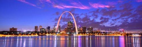 St. Louis Skyline at Dusk Sunset Farbe CITY DOWNTOWN 30,5x 91,4cm GATEWAY Arch Fotografien Panorama Poster Druck Foto Bild Standard Größe (St Louis Skyline Poster)