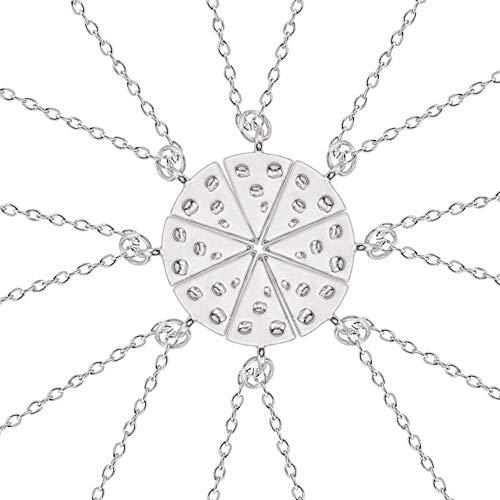 STK Silber Anhänger Mit Halskette Pizza Pizza Bester Freund Für Immer Halskette Weibliche Mode Dreieck Essen Freundschaft BFF Schmuck Geschenk Für Freunde Freundschaft Schmuck ()