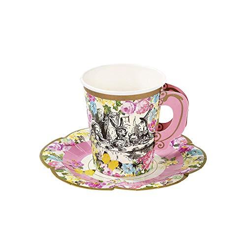 Alice in Wonderland; Teetassen und Untertassen mit für Teekränzchen, Hochzeiten und Geburtstagspartys, Verrückte Hutmacher-Party, 3 Designs, 250 ml (12 Tassen und Untertassen) ()