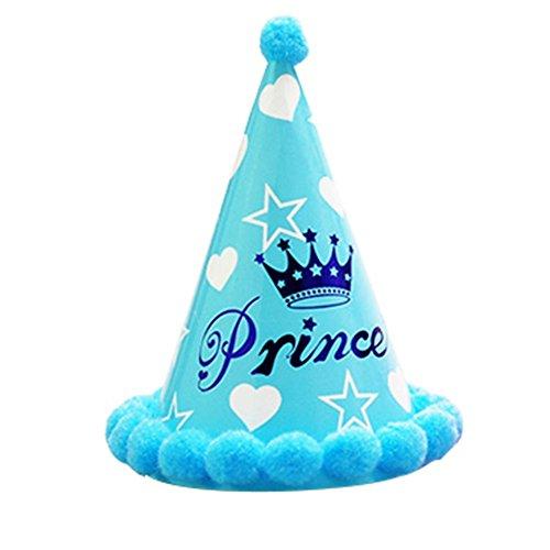 Dosige Partyhüte Geburtstagshut Kuchen Geburtstag Party Kegel Hüte mit Pompons für Kinder Krone Hut Geburtstag Dekoration Set (Blau)
