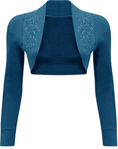 Damen Langarm Übergröße Cropped Bolero Shrugs Pailletten - Long Sleeve Teal