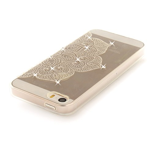 Apple iPhone 5/5S Coque, Voguecase (Diamant bling)TPU avec Absorption de Choc, Etui Silicone Souple Transparent, Légère / Ajustement Parfait Coque Shell Housse Cover pour Apple iPhone 5 5G 5S SE (Dent Demi-fleur