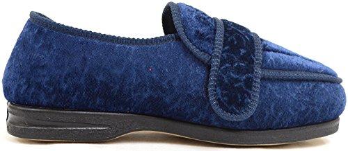 Ortopediche da donna con chiusura in Velcro, EEE Wide Fit Shoes-Pantofole/Slippers Blu (Blu)