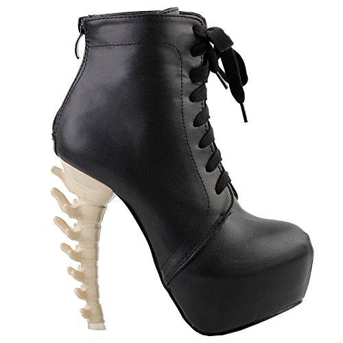 Show Story Punk-Design High Heels Schwarz Beige Damen High-Top Knochen High Heel-Plattform...