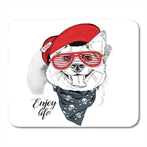 HOTNING Gaming Mauspads Gaming Mouse Pad Cute Portrait of The Smiling Dog in Red Cap Grill Glasses Cravat Puppy Teeth Animal 11.8