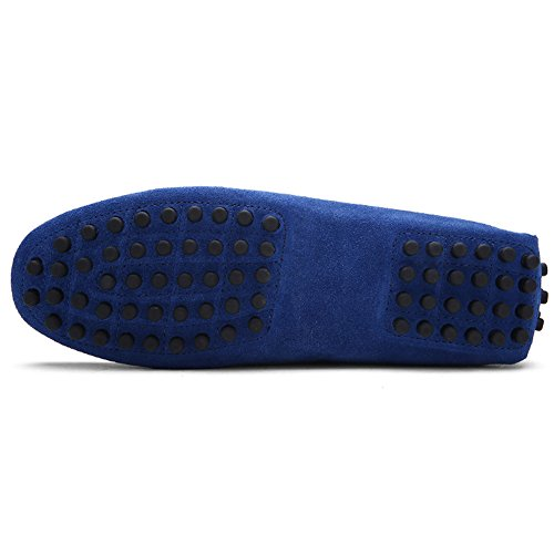 Klassische Herren Weich Wildleder Fahrschuhe Halbschuhe Handgefertigt Slippers Große Größe Moccasin Blau