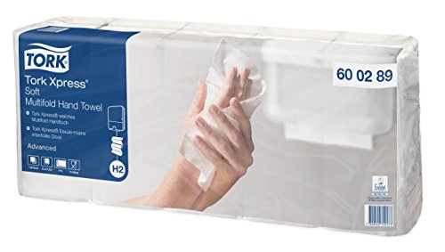 Tork 600289 Xpress hand paper towel premium H2 / Soft white multifold paper towels compatible with Tork H2 systems / 7 x 180 sheets (25.5 x 21 cm)