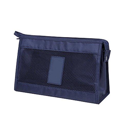 Mesh-kupplung (Einfach Mesh Travel Make Up Tasche waschen Beutel Fällen Organizer Bulk Kupplung Taschen Handtasche blau navy)