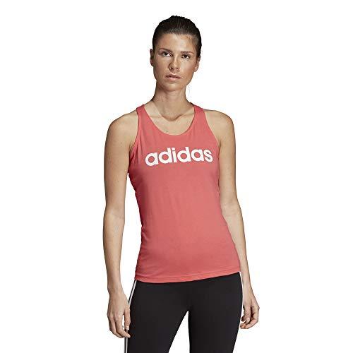 adidas Essentials Linear Slim Tank, Damen M Rosa/Weiß (Prism pink/White) -