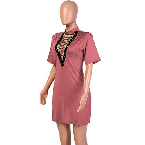Damen Kleider Xinan Verband Figurbetonten Abend Party Kurzarm Minikleid Rosa