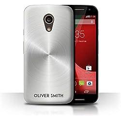 eSwish Personnalisé Effet Métal Brossé Imprimé Personnalisée Coque pour Motorola Moto G 4G 2015 / Argent Métallique Design/Initiales/Nom/Texte Etui/Housse/Case